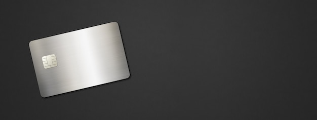 黒の背景にシルバーのクレジットカードテンプレート。 3dイラスト