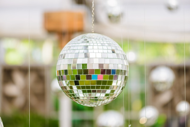 Silver disco mirror ball