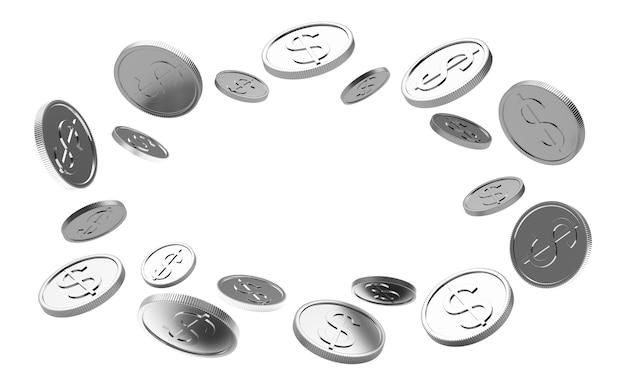 Монеты серебряный доллар расположены по кругу