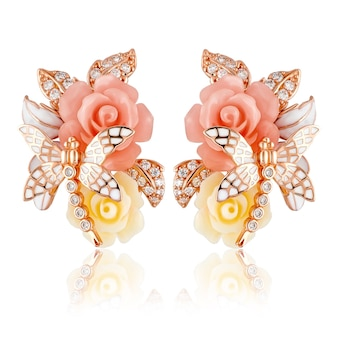 Silver earrings women's fashion with zircons. summer earrings in the shape of flowers and dragonflies.