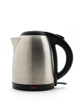 Silver electric kettle isolated on a white background, water kettle, fast heating. coffee shop equipment. modern technology brewing. modern technology brewing.