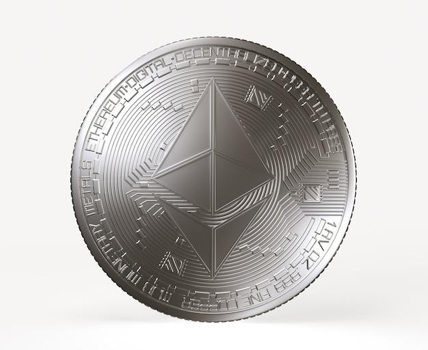 흰색 배경에 고립 된 에테르 기호로 실버 이더 리움 동전. 3d 렌더링 그림.