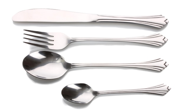 Silver fork and spoon, knife isolated on white