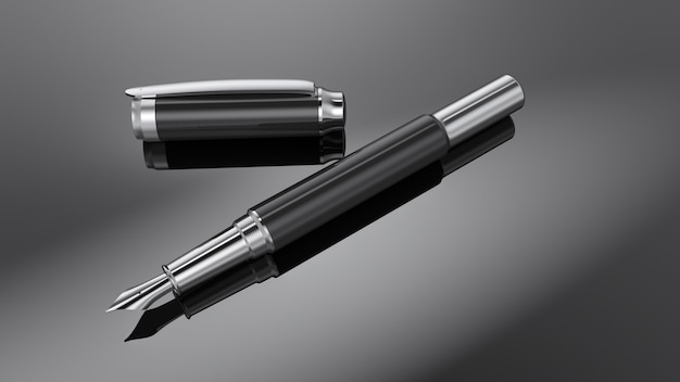 Silver fountain pen