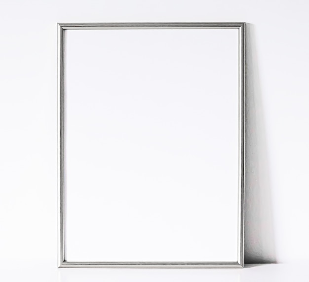 Silver frame on white furniture luxury home decor and design for mockup poster print and printable a...