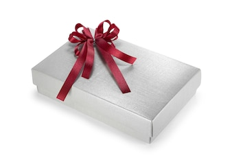 Silver gift box with red ribbon