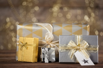 Silver gifts with a blurred background
