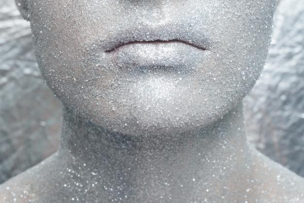 Макияж для лица с серебряным блеском