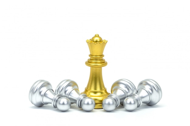 Silver and gold chessman isolated on white