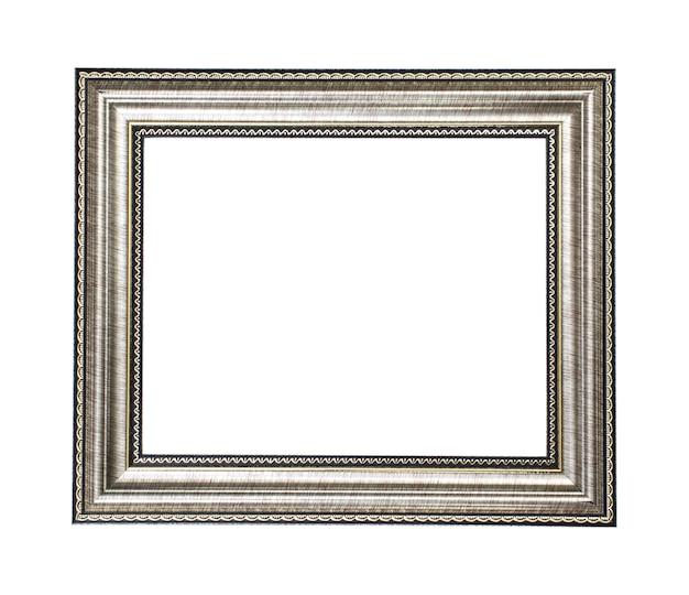 Серебряная золотая деревянная рамка на белом фоне