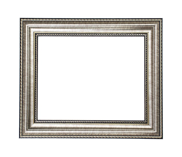 Silver gold wood frame on white background