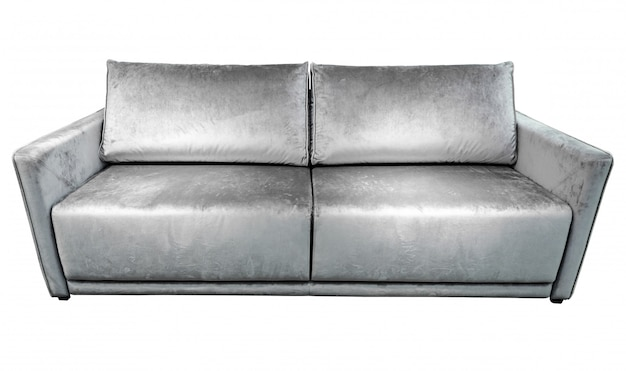 Silver gray velours sofa with pillows.