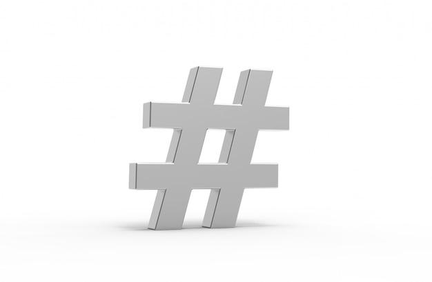 Silver hashtag icon.3d illustration.