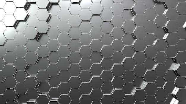 실버 육각형 벌집 운동 배경. 회색 추상 예술과 기하학적 개념. 3d 일러스트 렌더링