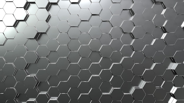 Silver hexagon honeycomb movement background. grey abstract art and geometric concept. 3d illustration rendering