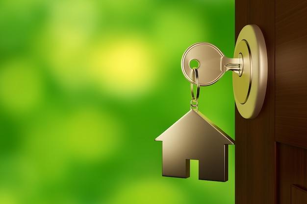 Серебряный ключ от дома в дверь.