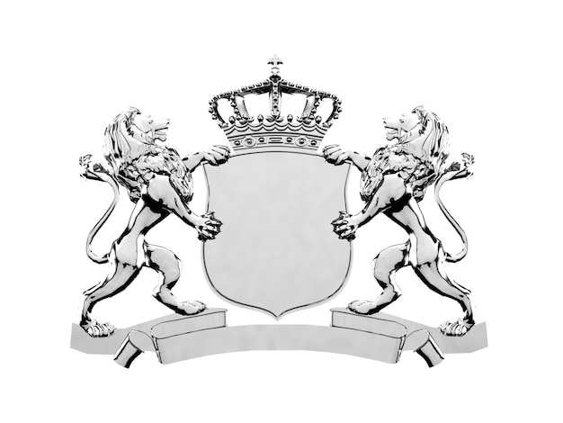 Silver lion crest logo ornament, 3d rendering. coat of arms