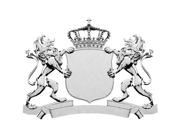 Серебряный орнамент с изображением гребня льва, 3d рендеринг. герб
