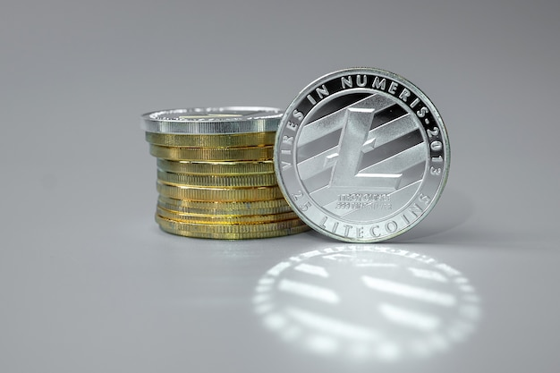 Silver litecoin cryptocurrency coins stack