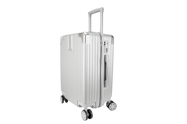 白で隔離されるコピースペースが付いている銀の荷物バッグ
