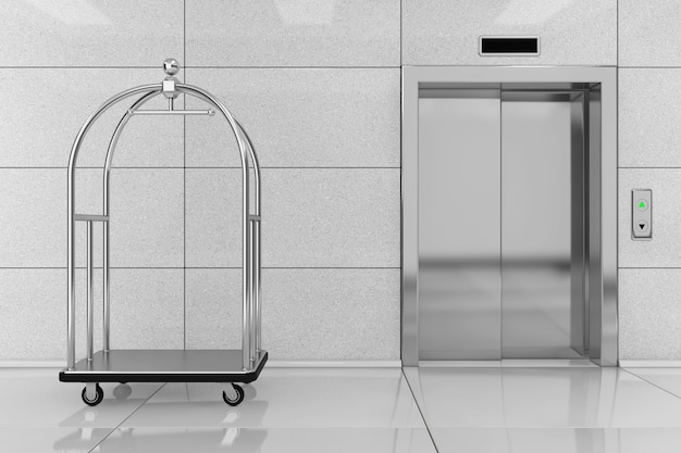 Silver luxury hotel luggage trolley cart in front of modern elevator or lift with metal doors in hotel building extreme closeup. 3d rendering