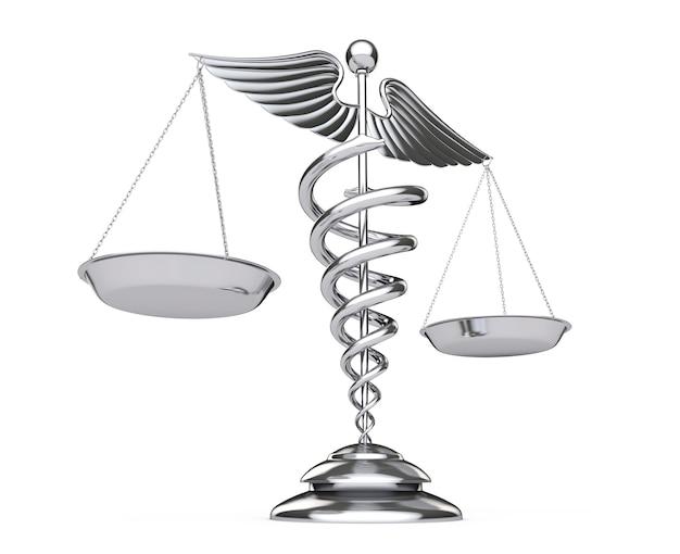 白い背景の上のスケールとしてシルバー医療カドゥケウスシンボル。 3dレンダリング