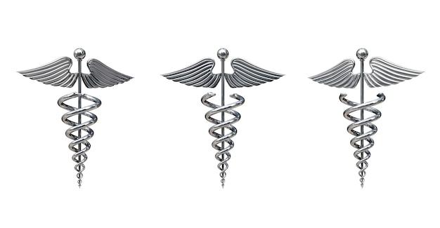 白い背景の上の銀の医療カドゥケウスシンボル。 3dレンダリング