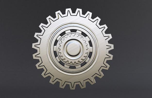 Silver metal engine gear wheels