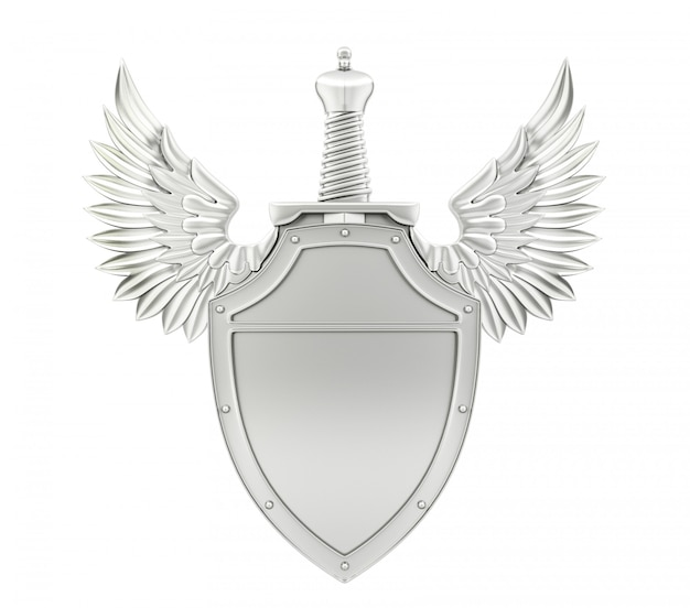 Silver metal shield with wings and sword, 3d rendering