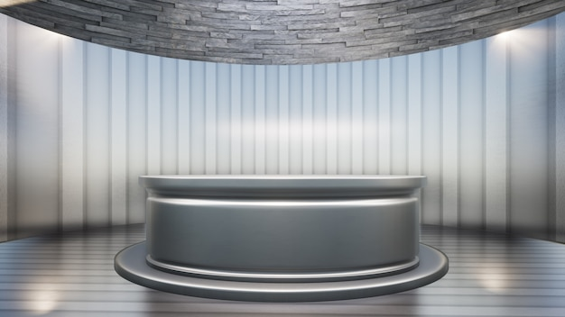 Silver metal table with backdrop in the news studio