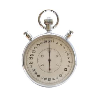 Серебряный металлический секундомер изолирован