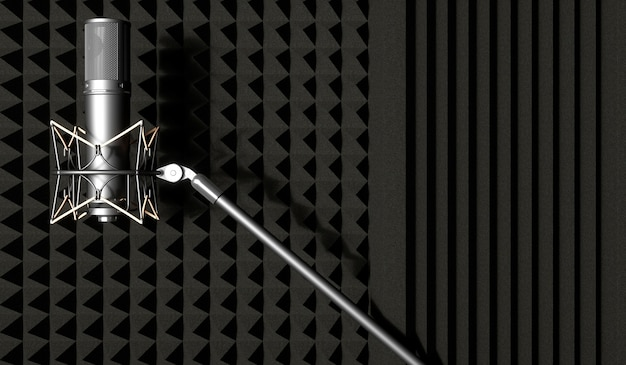 Silver microphone on a black background, 3d illustration