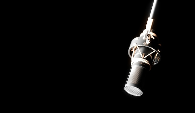 Silver microphone on a black background close-up, 3d illustration
