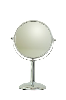 Silver mirror for makeup isolated on white background
