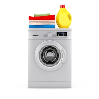 Серебряная современная стиральная машина с бутылкой моющего средства и кучей одежды на белом фоне. 3d рендеринг