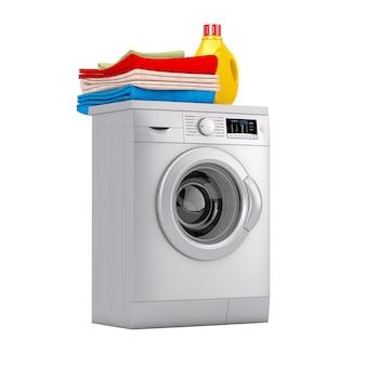 白い背景の上に洗剤のボトルと服の山を備えたシルバーのモダンな洗濯機。 3dレンダリング
