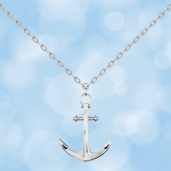 Silver necklace with anchor on a blue background. 3d rendering.