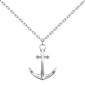 Silver necklace with anchor on a white background. 3d rendering.