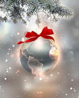 Серебряный новогодний праздник изображение с сияющим миром в виде шара d изображение
