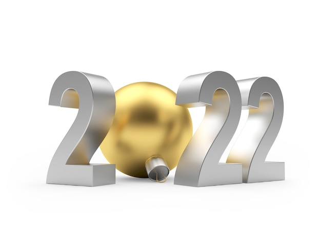 Серебряный новогодний номер 2022 с золотым елочным шаром Premium Фотографии