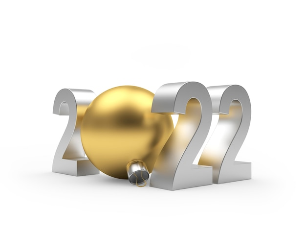Серебряный новогодний номер с золотым елочным шаром на белом фоне 3d иллюстрация