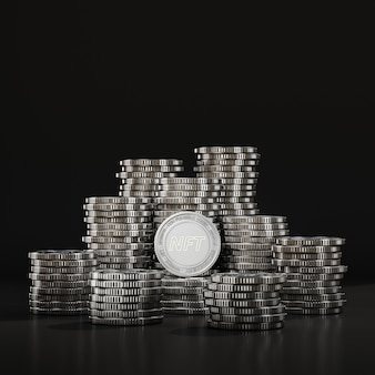 Silver nft coins pile in black scene, digital currency coin for financial, token exchange promoting. 3d rendering