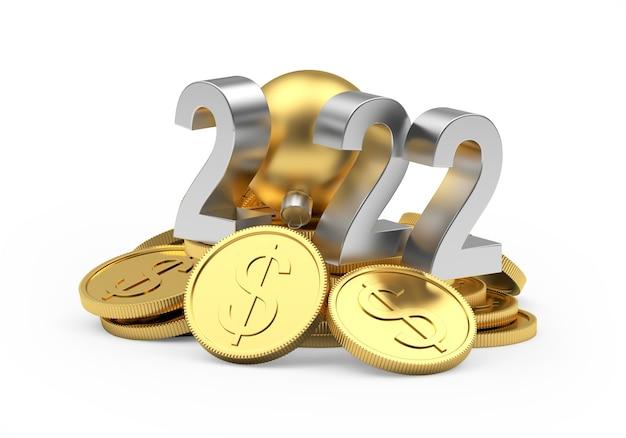 Серебряный номер новый год на кучу золотых долларовых монет