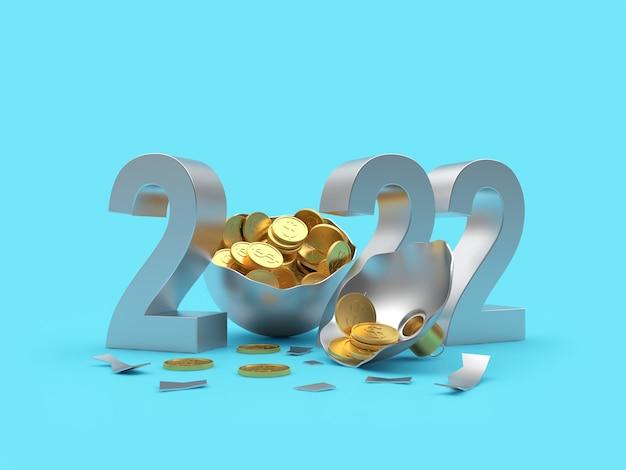 Серебряный номер нового года и сломанный елочный шар с монетами