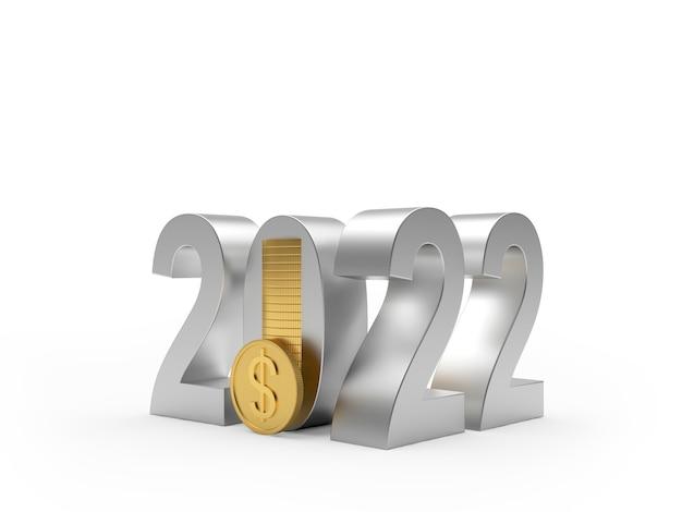Серебряный номер нового года с золотой монетой доллар