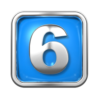 Silver numbers in frame, on blue background. number 6