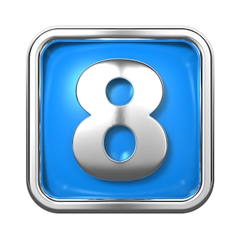 Silver numbers in frame, on blue background. number 8