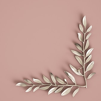 Silver olive branche sculpture on pastel pink wall. 3d rendering