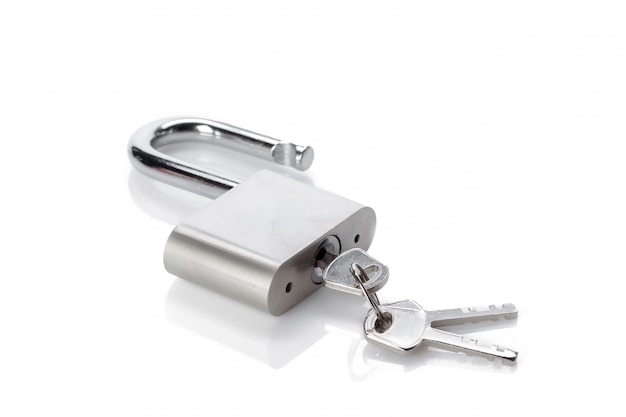 Silver padlock isolated