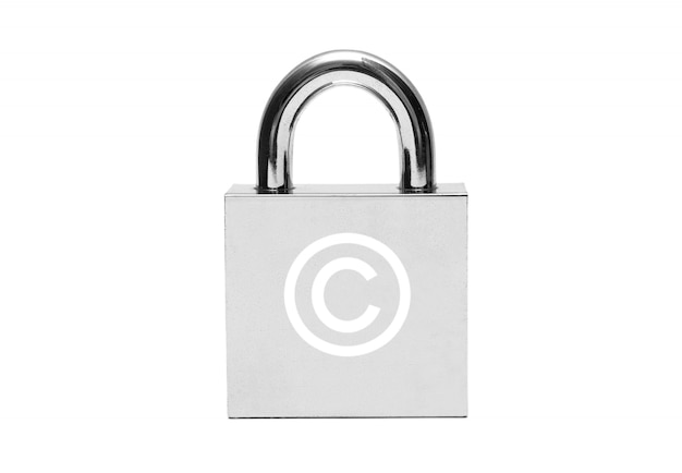 Silver padlock with copyright sign